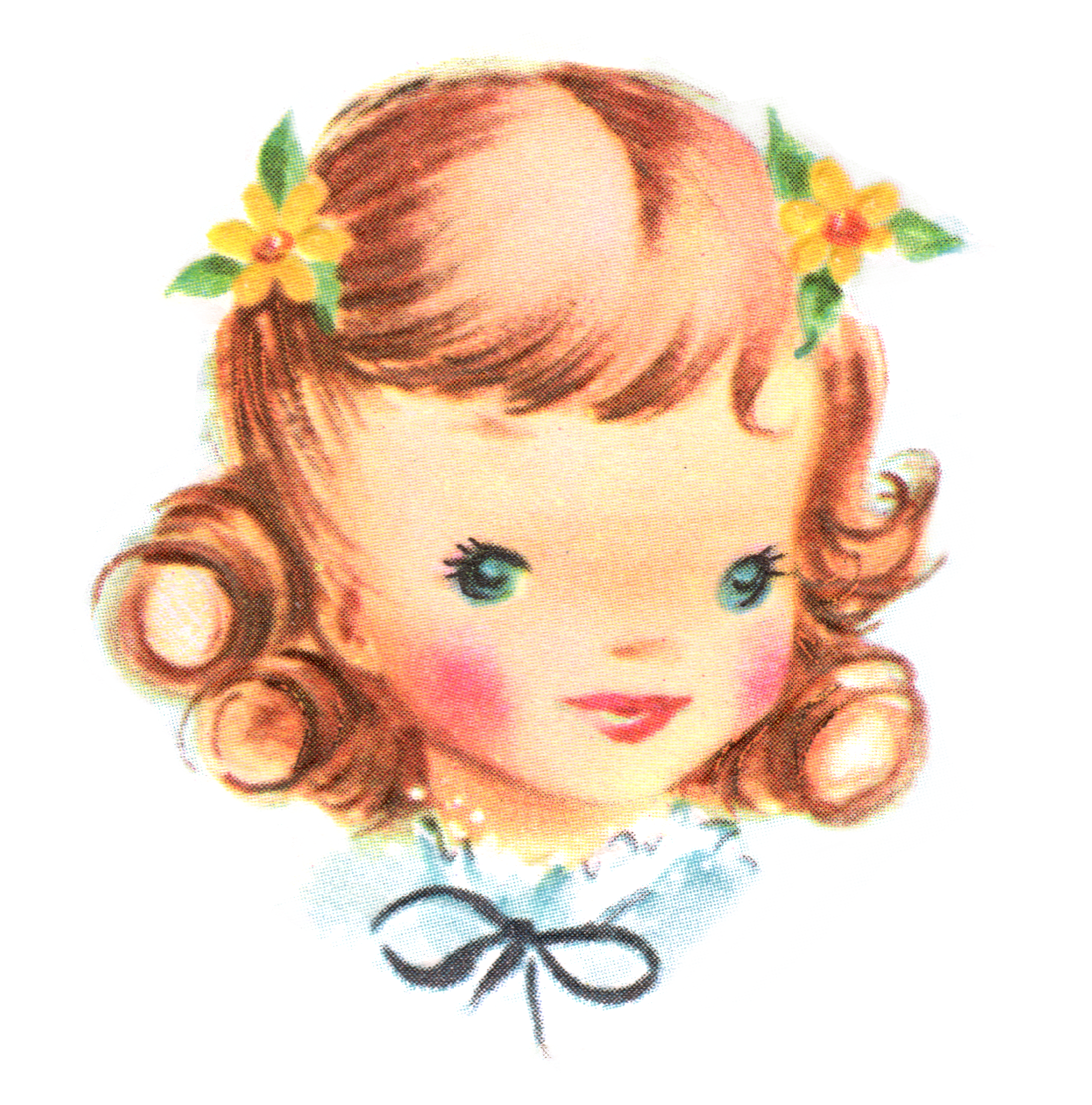 July clipart vintage. Images lovely girl face