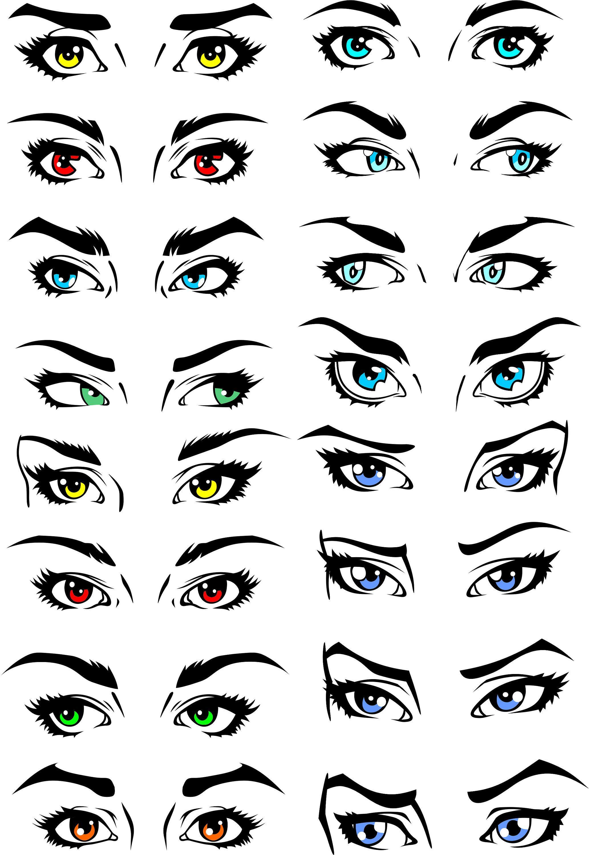 Set of human eyes. Eyebrow clipart printable