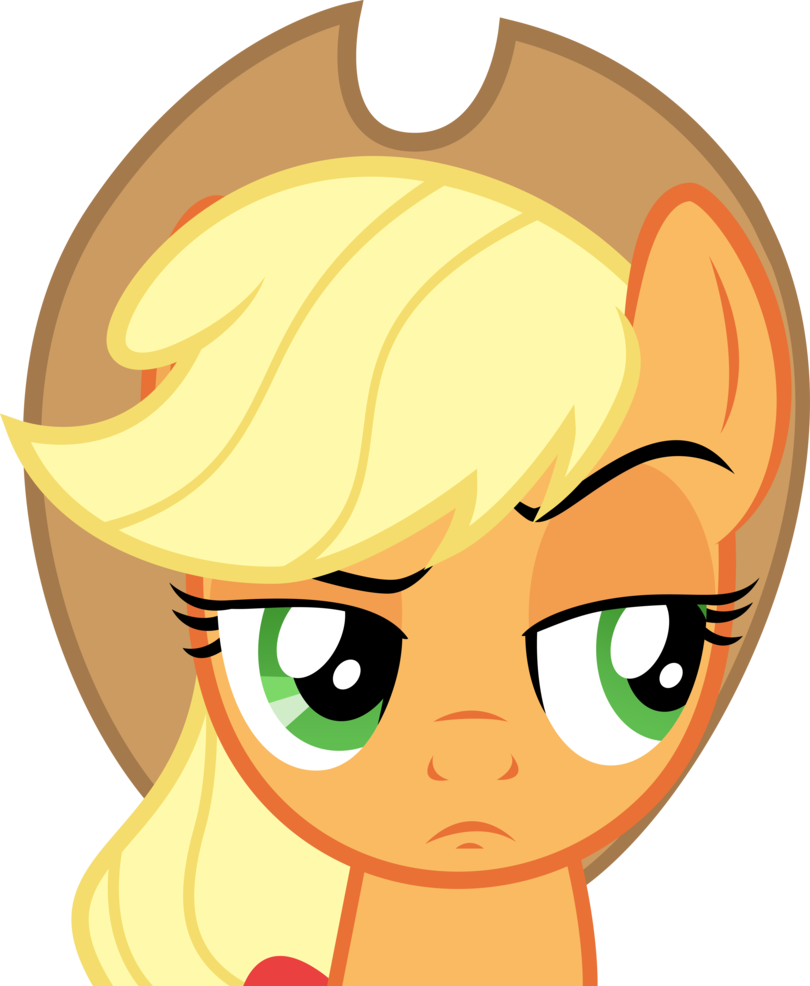 Eyebrow clipart sad. Applejack raises her by