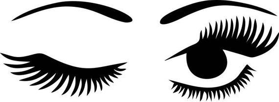 Winking digital download eye. Eyelashes clipart wink