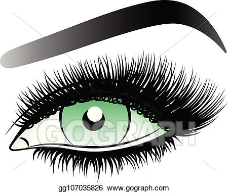 Eyebrow clipart woman's eye. Vector art green woman