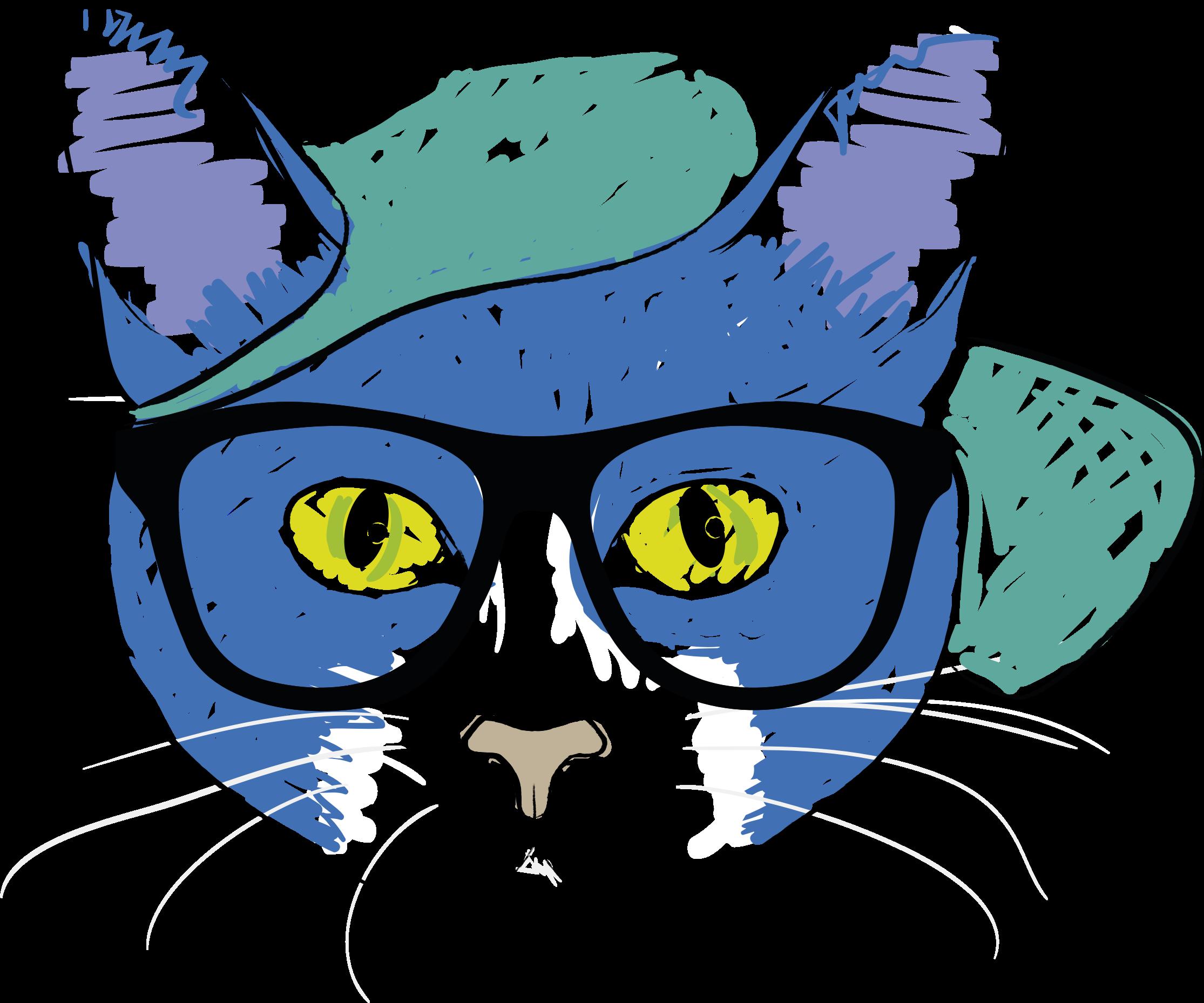 Sunglasses clipart teal. Cat wearing glasses big