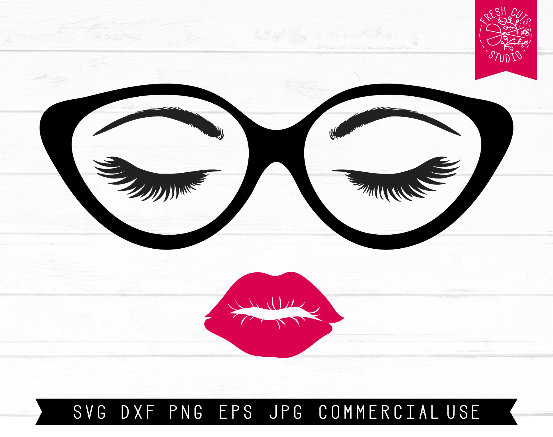 Svg lips and lashes. Eyeglasses clipart eye brows