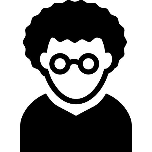Nerd with curly and. Eyeglasses clipart man hair