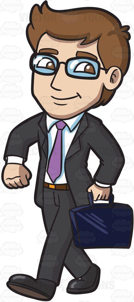 Eyeglasses clipart man hair. A businessman walking confidently