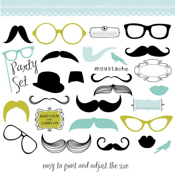 Mustache spectacles and lips. Kiss clipart props