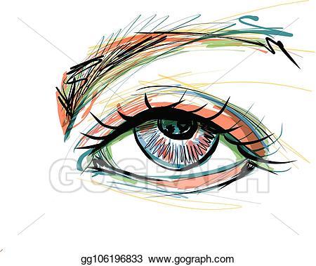 Eyelash clipart beautiful eye. Vector stock with long