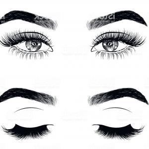 Eyelash clipart cartoon character. Eyelashes set vector illustration
