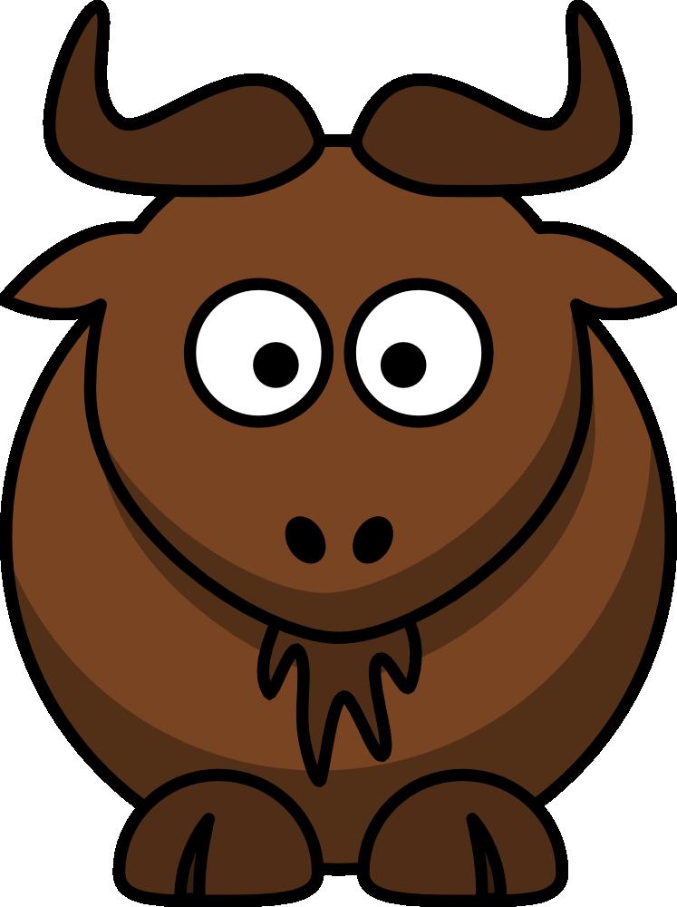 Cartoon wildebeest cute clip. Moose clipart day canada