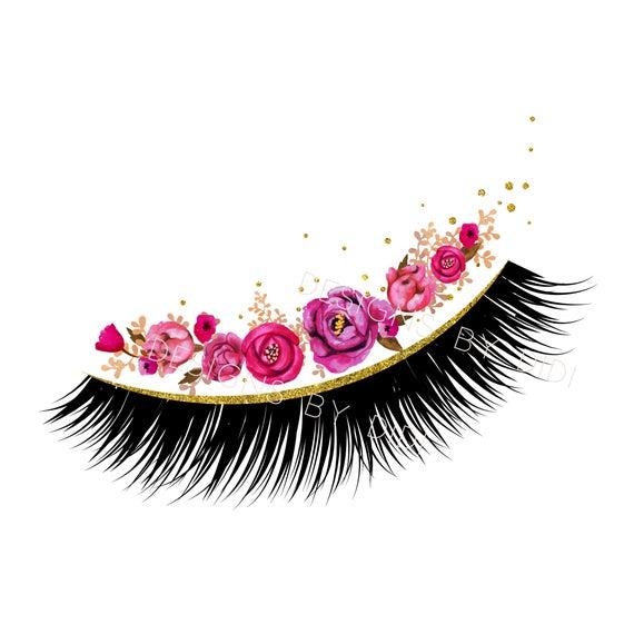 Eyelash clipart clip art. Instant download lash pink