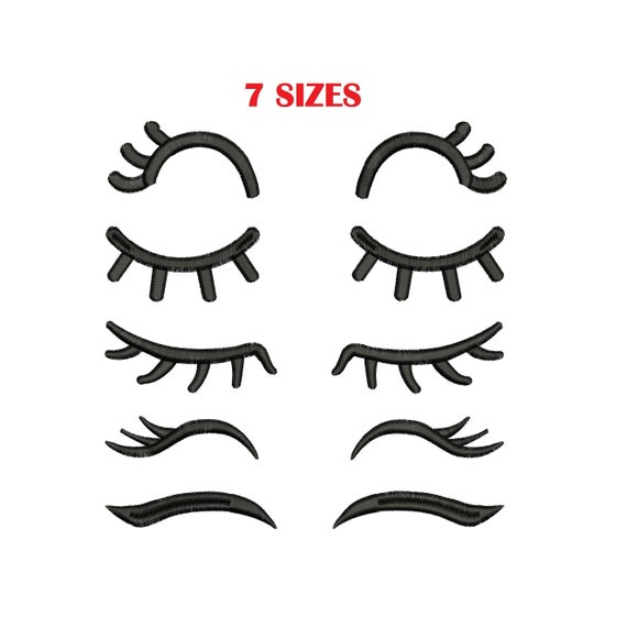 Embroidery design lashes designs. Eyelashes clipart embroidered