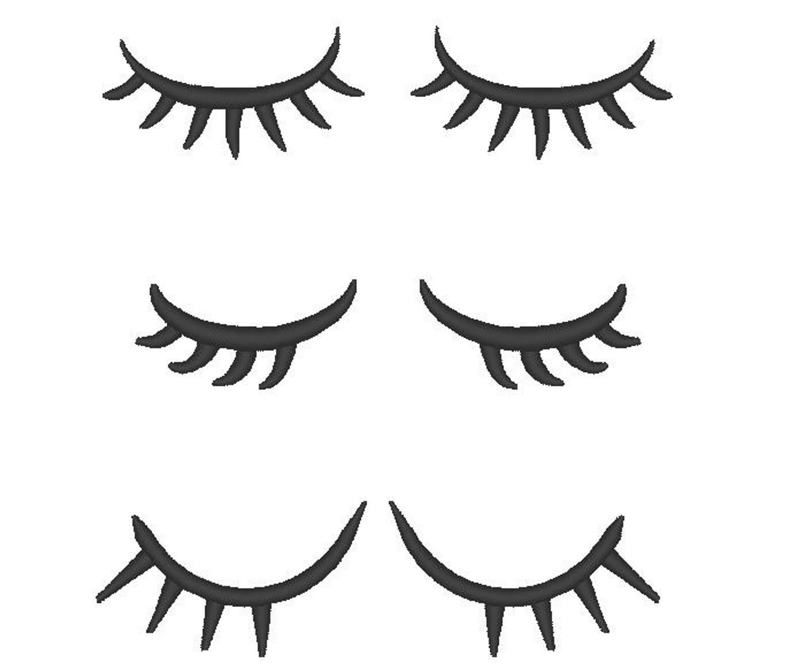 Eyelashes clipart embroidered. Blinking eyes with lashes