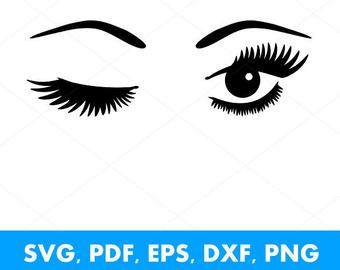 Wink svg etsy . Eyelash clipart eye blink