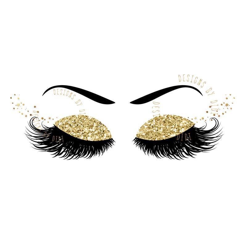 Instant download foil lash. Eyelash clipart gold