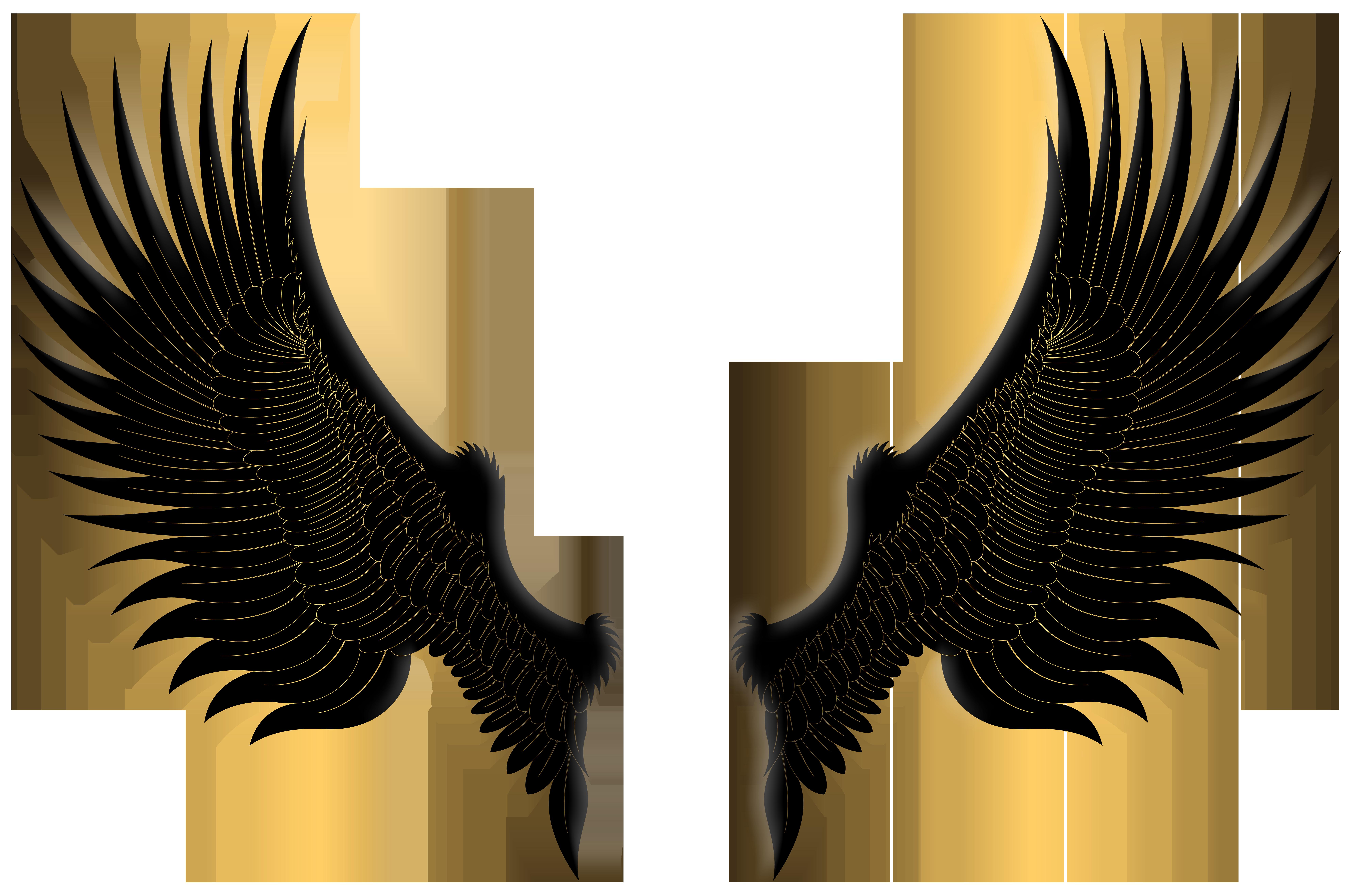 Black wings png clip. Eyelash clipart gold