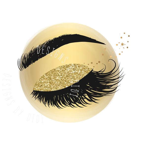 Eyelash clipart gold. Instant download foil lash