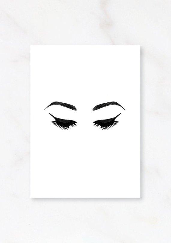 Eyelashes clipart digital art. Fashion illustration prints