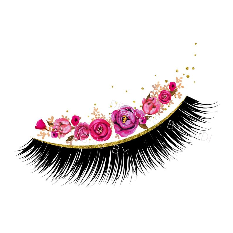Instant download lash gold. Eyelash clipart pink