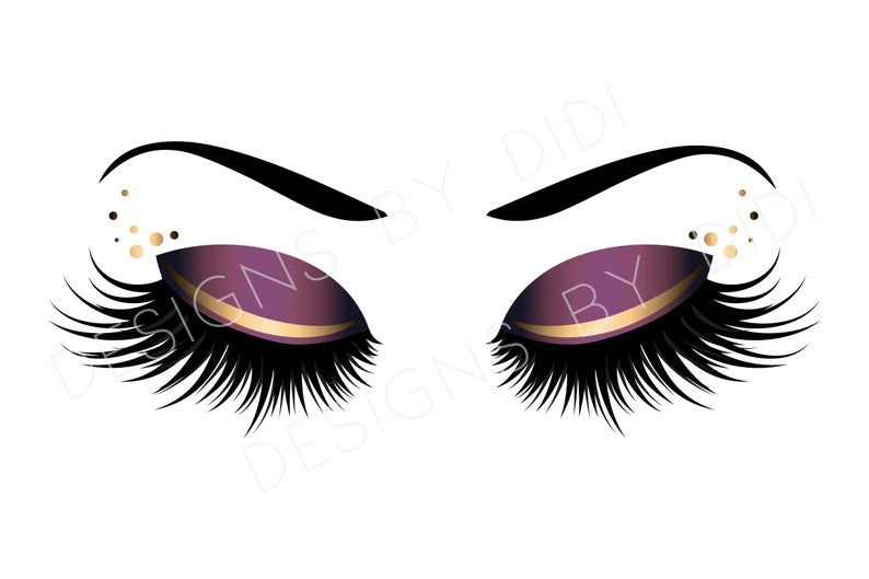 Eyelash clipart purple eye. Instant download lash gold