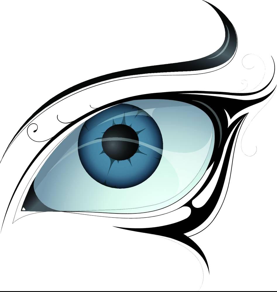 Tattoo eye vecteur illustration. Eyelashes clipart watercolor
