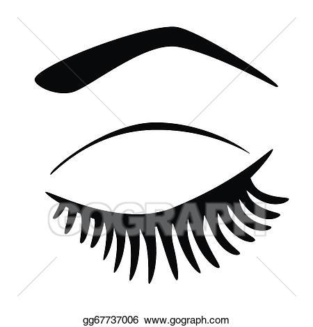 Vector art eye closed. Eyelash clipart cartoon character