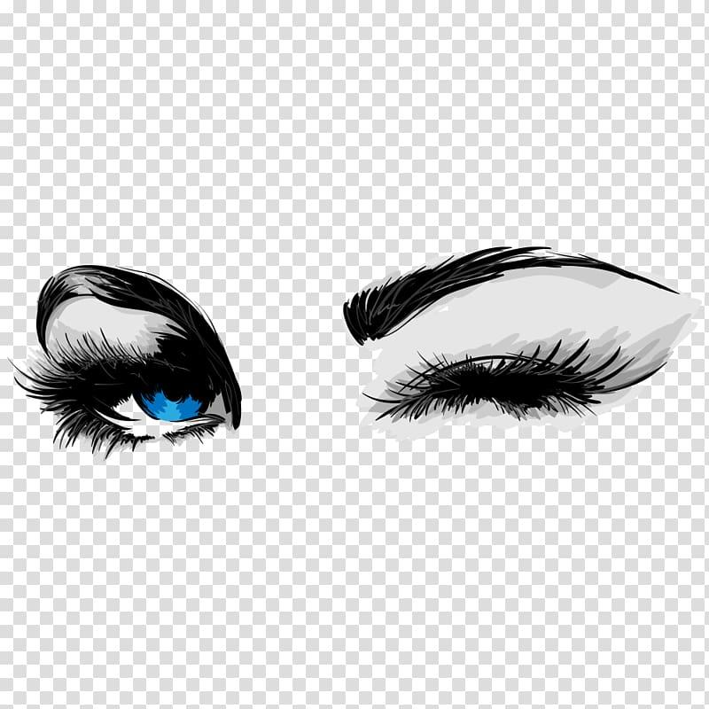 Woman s eye illustration. Eyelashes clipart cartoon character