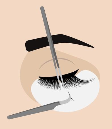 Procedure for eyelash extension. Eyelashes clipart cilia