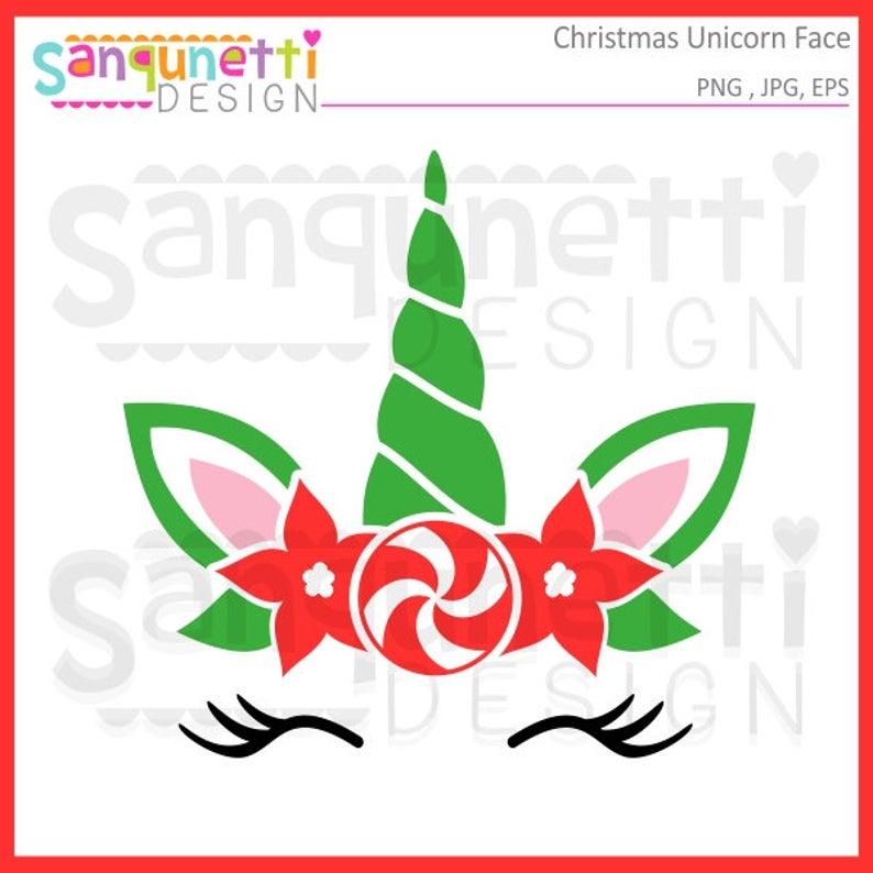 Christmas unicorn face winter. Eyelashes clipart embroidered