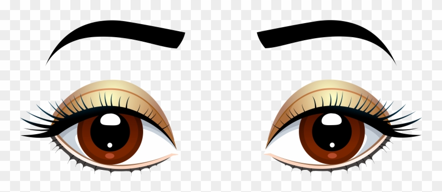 Brown eyes with eyebrows. Eyebrow clipart 2 eye