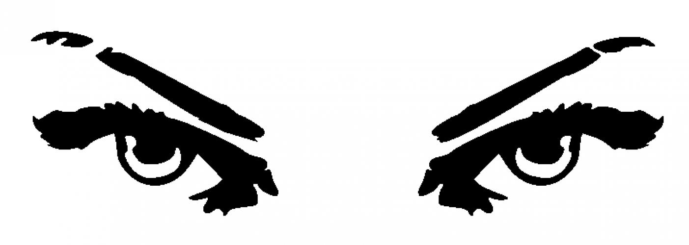Evil black and white. Eyes clipart illustration