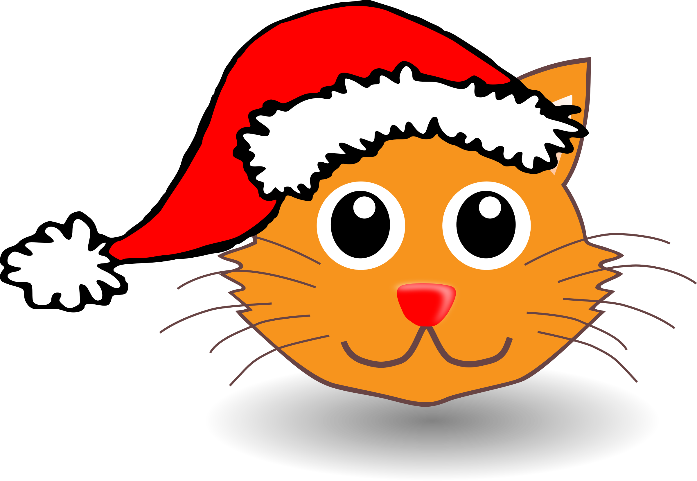 Funny kitty face with. Head clipart cat in hat