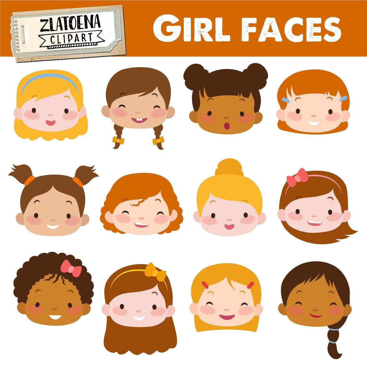 Faces clipart child face. Cute girl kids digital