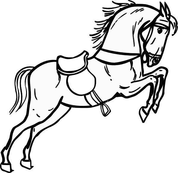 Kids clipart horse. Fre black and white