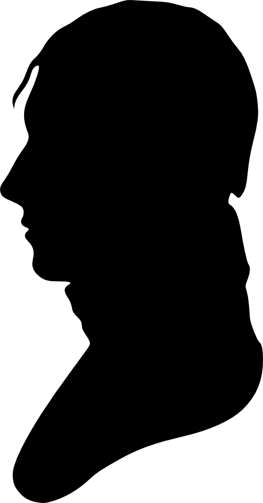 Silhouette of man facing. Number 1 clipart no1