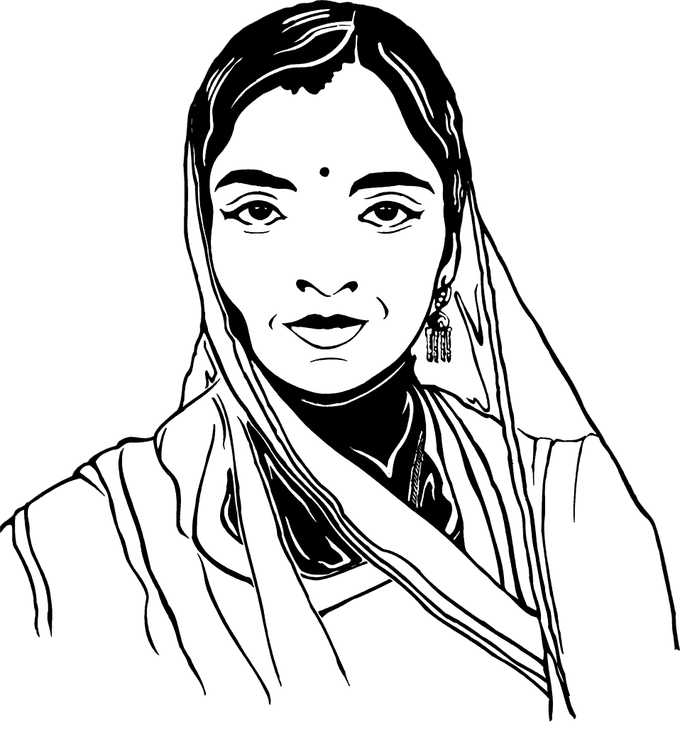 Amazing of woman face. Female clipart black and white