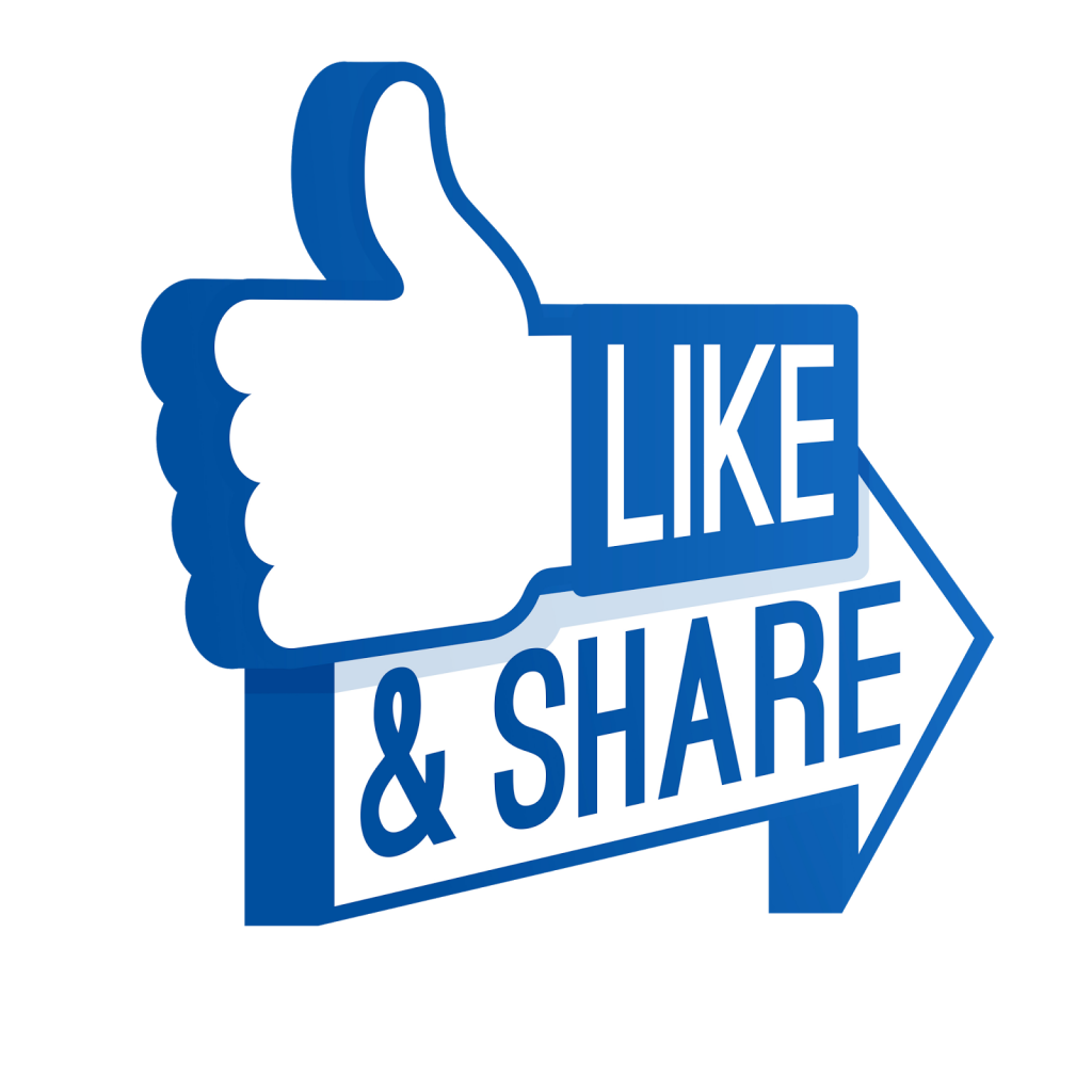 Like and transparent background. Facebook clipart share