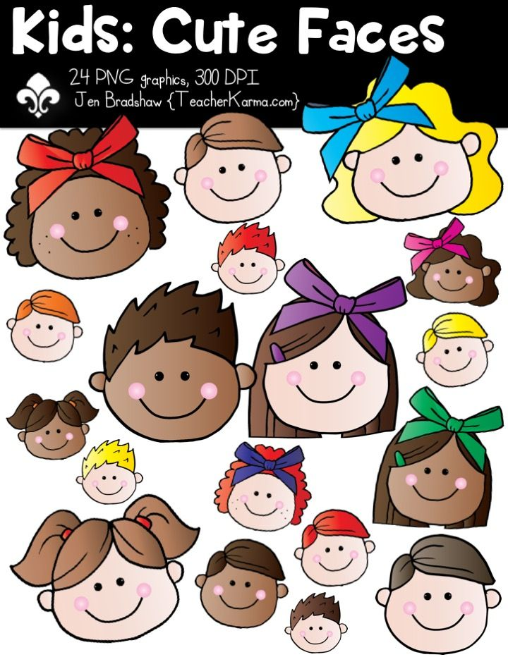 Faces clipart. Kids cute students include
