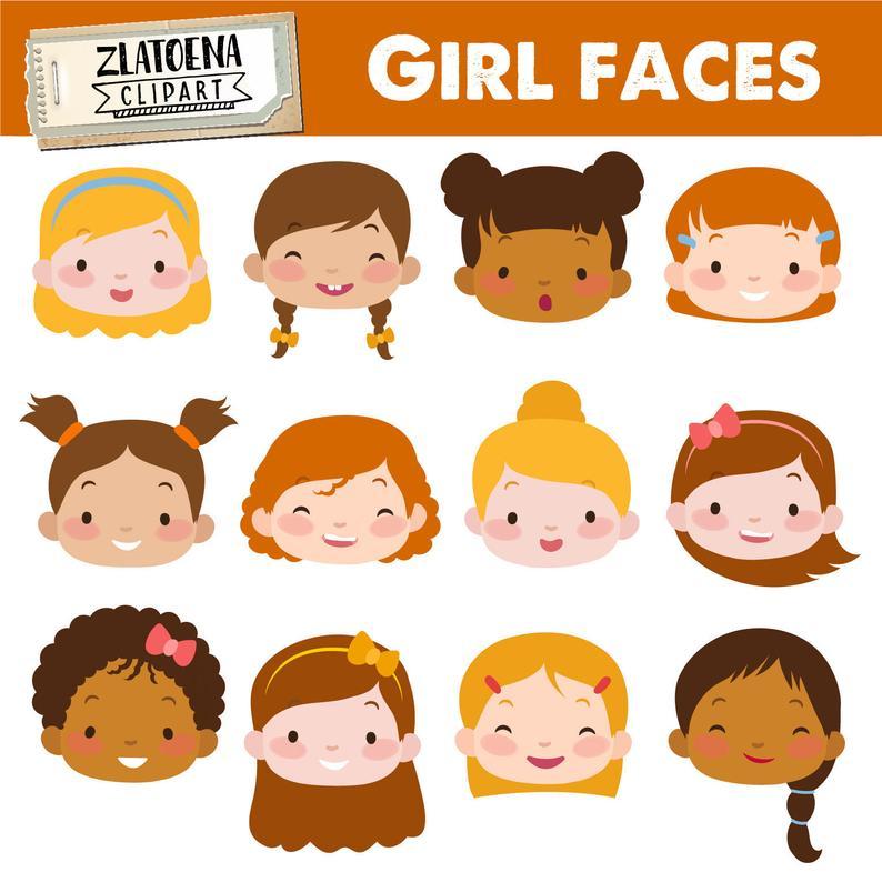 Cute girl kids digital. Faces clipart