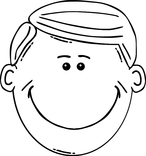 Faces clipart black and white. Smiling boy face smile