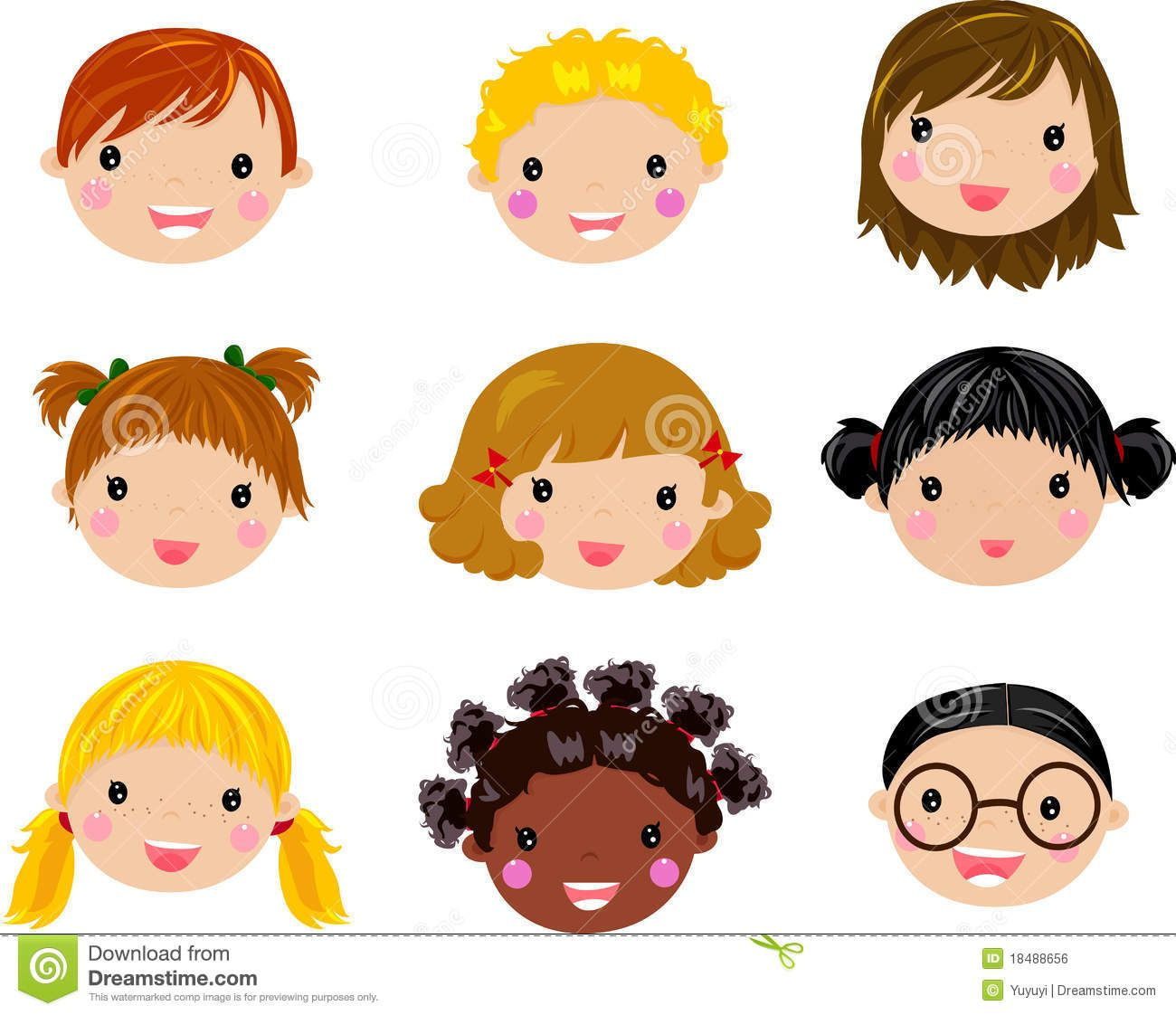 Faces clipart child face. Cartoon children rs girl