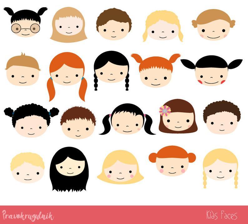 Faces clipart doll face. Cute kid set children