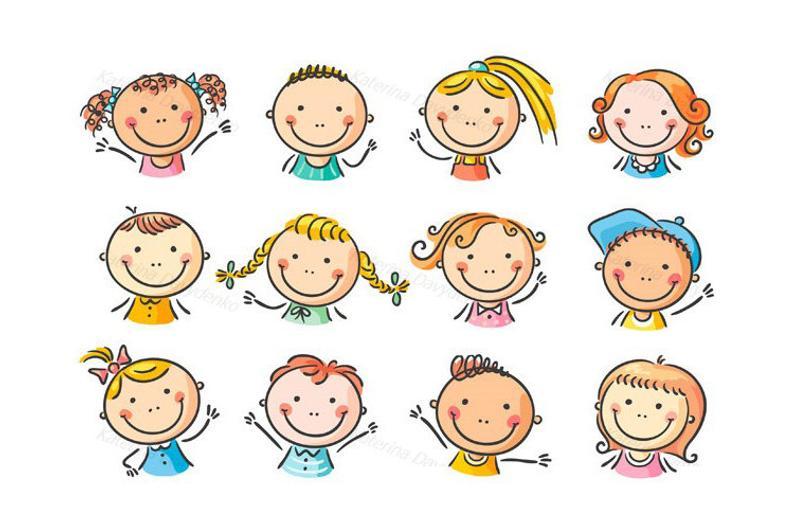Faces clipart kid faces. Set of happy cartoon