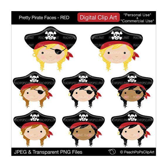 Pirate clipart face. Cute girls digital clip