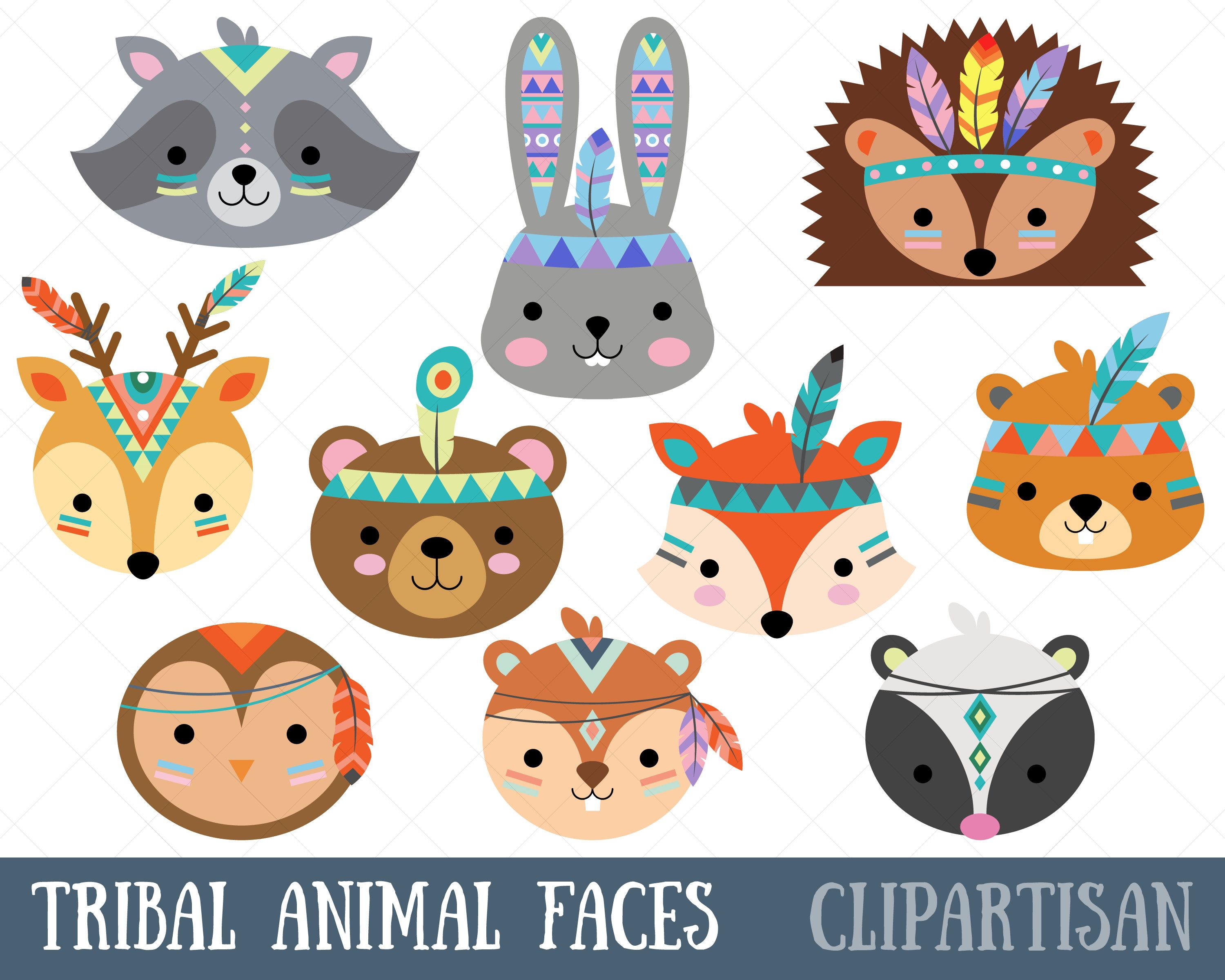 Woodland clipart wild animal. Tribal faces