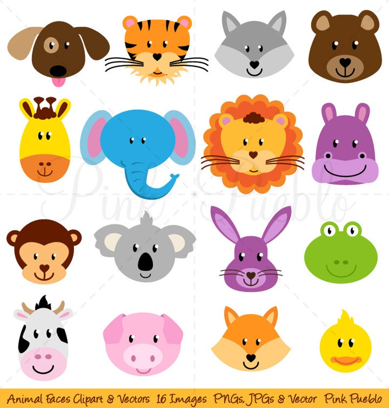 Faces clipart zoo. Animal clip art jungle