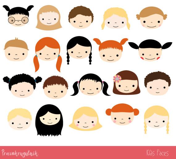Cute kid set children. Faces clipart