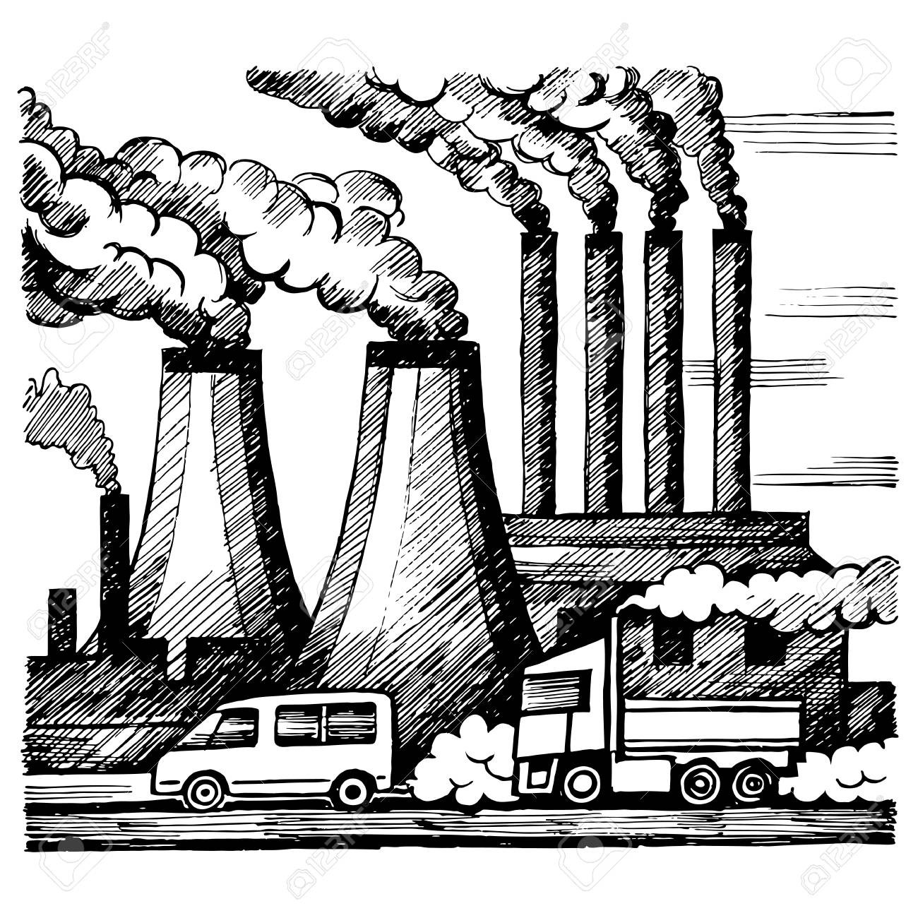 Factory pollution drawing at. Factories clipart air quality