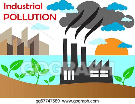 Eps illustration air pollution. Factory clipart polluted