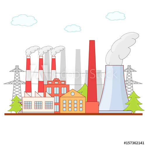 Cartoon building architecture . Factory clipart business industry