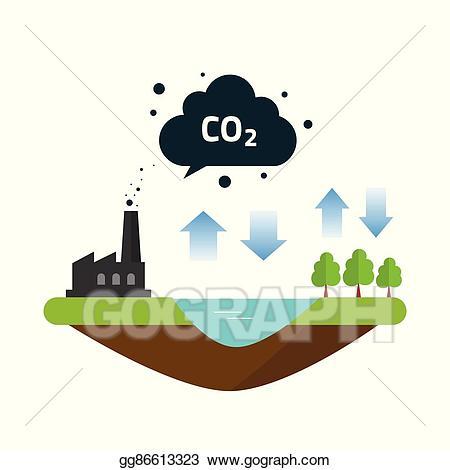 Factories clipart carbon emission. Vector illustration co natural